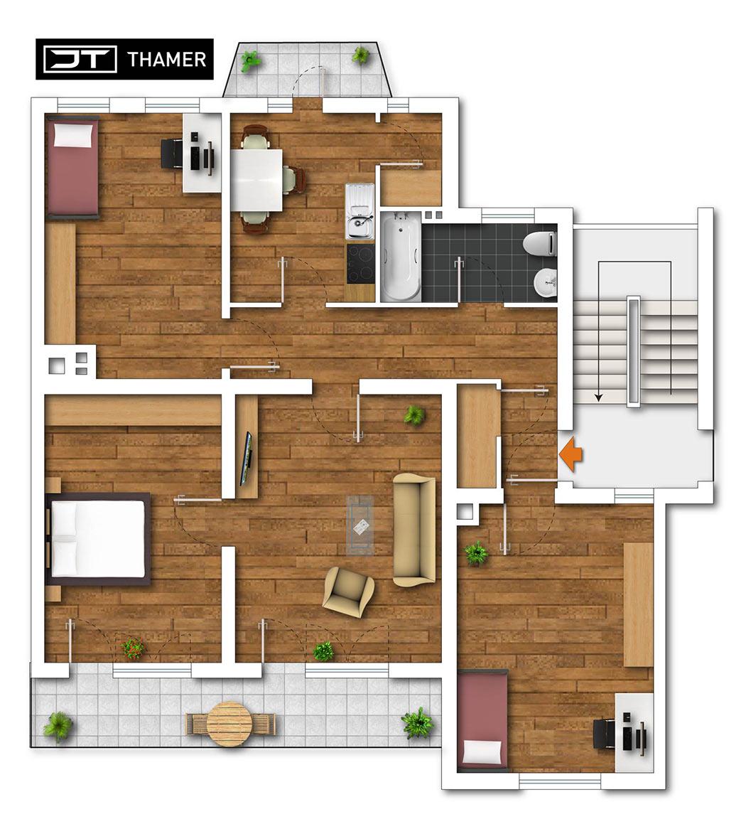 JT - Thamer Immobilien Bayreuth – Grundrissüberarbeitung nachher