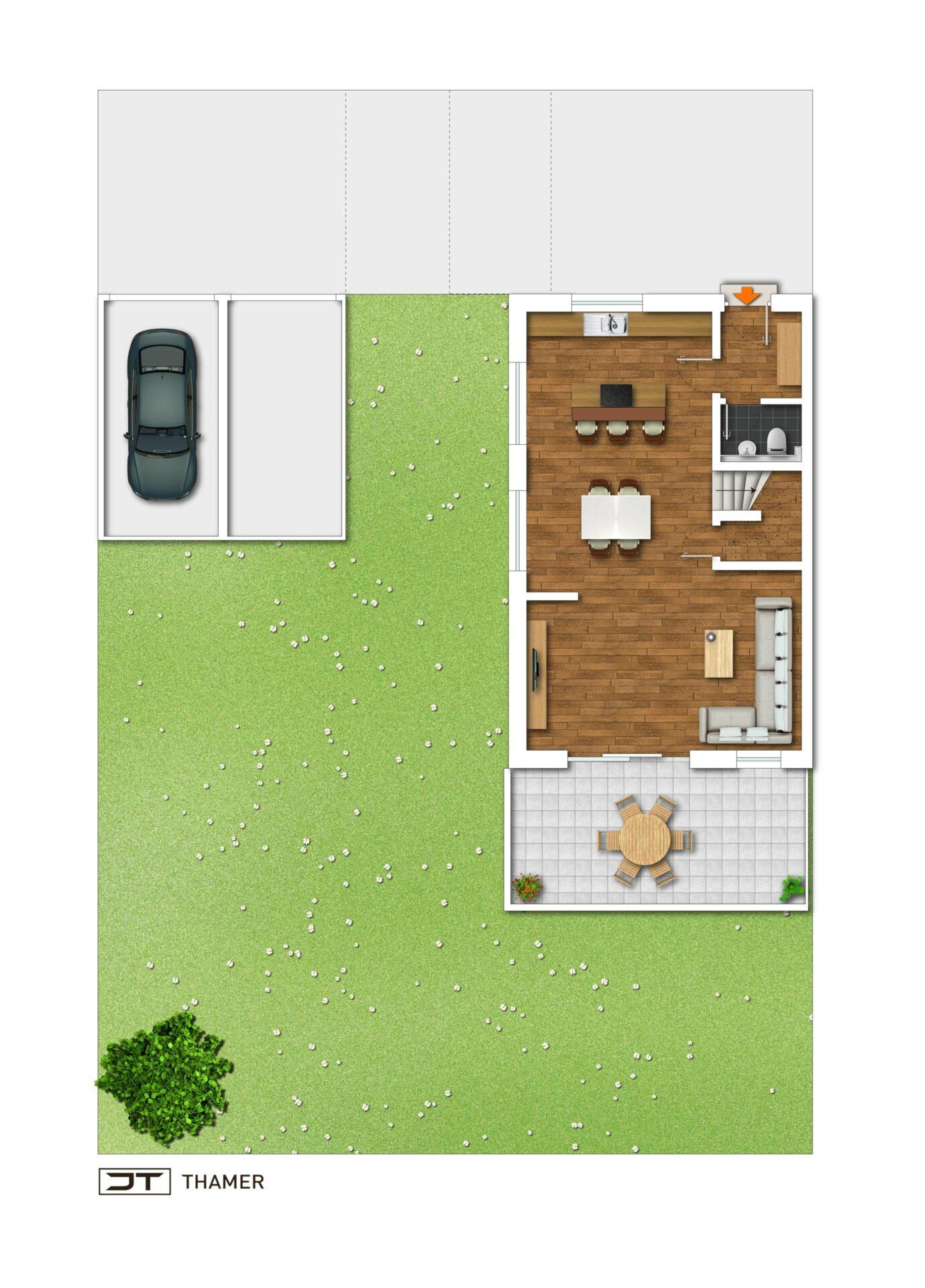 Wohntrio Seulbitz: Offen geschnittene Maisonette-Wohnung Nr. 1 mit ca. 134,71 m² und Süd-Loggia!