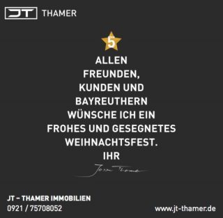 Frohe Weihnachten und vielen Dank für Ihr Vertrauen, die guten Gespräche und erfolgreichen Projekte im vergangenen Jahr. Genießen Sie ein paar ruhige Tage im Kreise der Familie. Lassen Sie die Hektik des Alltags einmal hinter sich. Liebe, Hoffnung, Dankbarkeit und das Zusammensein mit vertrauten Menschen machen die Weihnachtszeit zu etwas Besonderem. Dabei wünsche ich Ihnen alles Gute und Beste Grüße Ihr/Euer Jason Thamer #weihnachten #weihnachten2018 #weihnachtsbaum #ImmobilienStories #MissionImmobilie #ErwartenSiePersönliches #jt_thamer #weihnachtsgrüße #froheweihnachten #weihnachteninbayreuth #bayreuth #immobilienbayreuth #2018 #frohesfest #dankefüralles #bayreuther #bayreuthimadvent #christkindbayreuth #christbaum #jt #weihnachtsgrüsse #weihnachtenundso #weihnachtenkannkommen #baumdesigns #schwarzweiss #textbaum